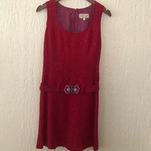 RARE VINTAGE NANETTE LEPORE RED BOUCLE DRESS 2